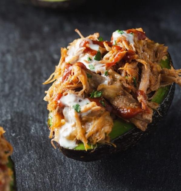 keto puled pork stuffed avocado
