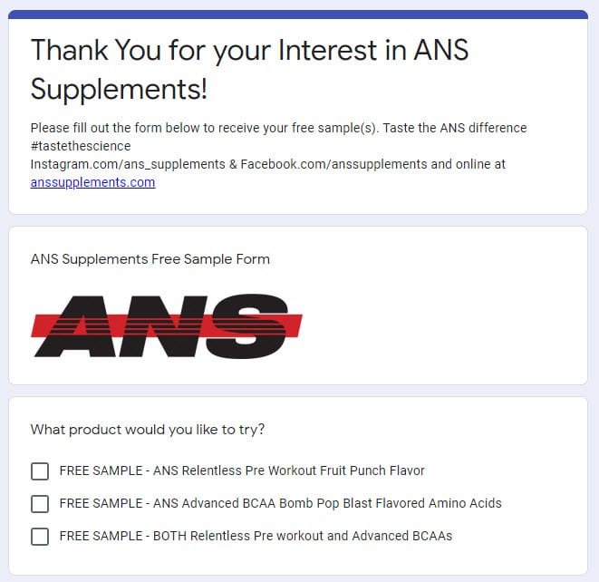 ANS free supplements samples