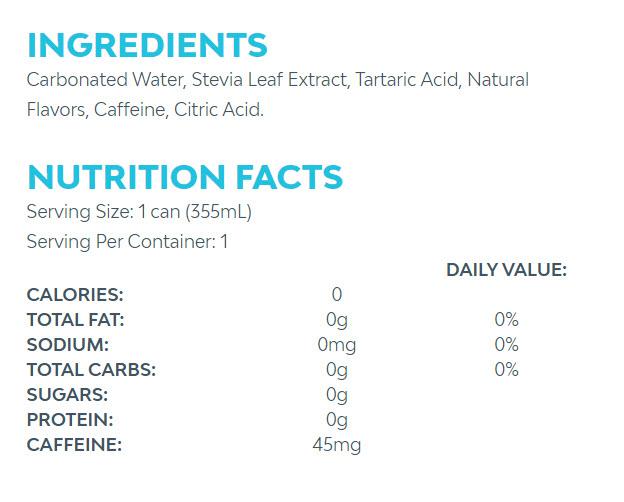 Zevia Soda nutrition