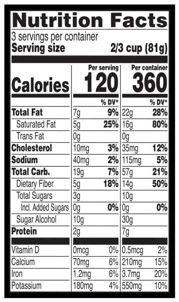 Breyers Smart Carb Nutrition