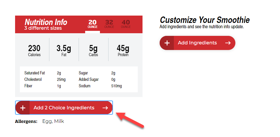 Smoothie King Nutrition Calculator 1